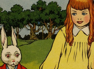 color illustration of Alice in Wonderland with white rabbit