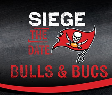 Siege the date Bulls and Bucs logo