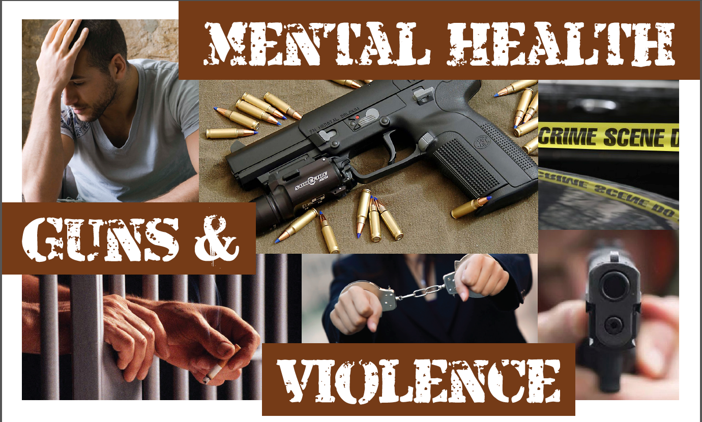 poster with images of inmate, handcuffs, guns