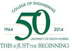 Green and white USF College of Engineering 50th anniversary logo
