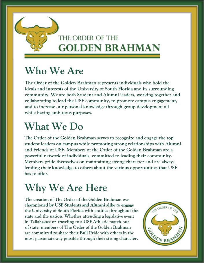 USF Alumni - Order of the Golden Brahman
