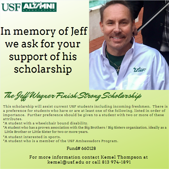 USF Alumni - Jeff Wagner Finish Strong Scholarship