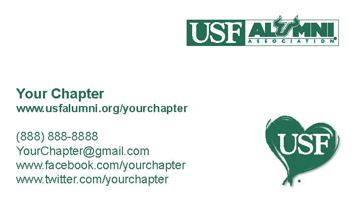 Usf alumni chaptersociety business card request form chapter sample card wajeb Gallery